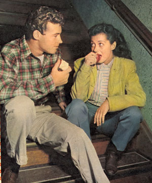 Just dating in 1947, Guy Madison and Gail Russell were married from August '49 until October '54.