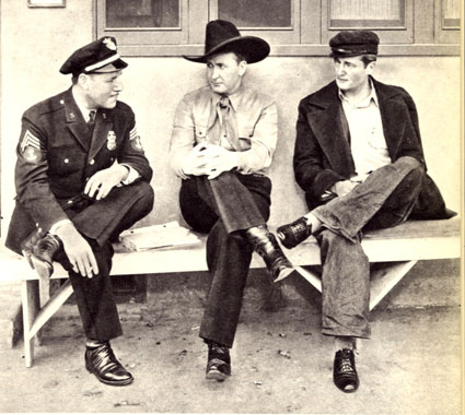 Three Western greats relaxing on the Columbia backlot...Jack Holt, Tim McCoy and Richard Dix.