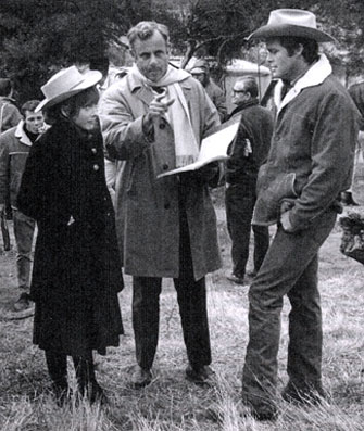 "Director James Sheldon gives a few pointers to Brenda Scott and Doug McClure during the filming of ""The Virginian: Dark Destiny"" ('64)."