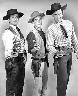 "Hugh O'Brian, John Lupton and Clint Walker promote ABC's 1956 lineup of Westerns: ""Wyatt Earp"", ""Broken Arrow"" and ""Cheyenne""."