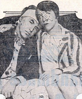 "This August 24, 1928, photo of cabaret comedian Will Morrissey and his wife actress Midgie Miller was taken shortly after the couple mixed with Tom Mix during the housewarming party given by actor George Beban. Morrissey said Tom's horse Tony had a great future in the talkies. He said, ""The horse could at least snort, but what could Tom do?"" The comedian told police officers he offered to shake hands with Mix when the party broke up but Mix struck him on the jaw instead. Morrissey stated, ""I knocked him down twice then the rug slipped from under me. I fell backward and those high heels of Tom's boots thumped my head like a drum but I got a break—Tony wasn't there."" Mrs. Morrissey stated her husband was knocked down and Mix ""was kicking him horribly. I tried to come to Will's aid but Mix cracked me in the eye."" Mix said the comedian had been abusive all evening and when the party broke up Morrissey followed him to the door and ""swung on me a few times."" Mix said he pushed the comedian away but when Morrissey continued following him and calling insults, he turned and knocked his pursurer down. ""Some woman grabbed me but I just shook her off,"" Mix said. ""I certainly didn't kick anyone and I didn't strike any woman."" Mix figured Mrs. Morrissey was probably struck by one of her husband's wild swings. The Morrisseys were arrested and released on $20 bail each. Apparently Morrissey's wise cracking was involved in at least two other L.A. court sessions, one bringing a contempt charge for the actor."