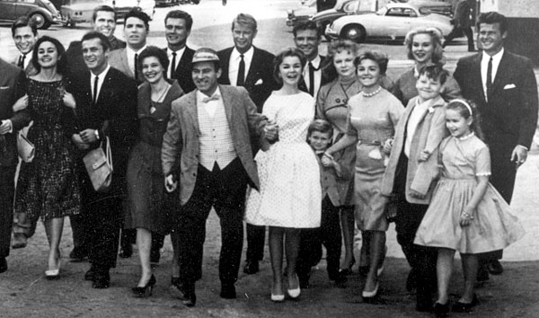 Unknown, Sharon Hugueny, Robert Conrad, Ty Hardin, Van Williams, Jacqueline Beer, Roger Smith, Louie Quinn, Troy Donahue, Joanna Barnes, Grant Williams, unknown, Peggy McKay, Arlene Howell, children unknown, unknown.