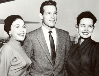 "Guy Madison is greeted by costars Felicia Farr ad Kathryn Grant when he arrived in Tucson in March, 1956 to film ""Reprisal""."