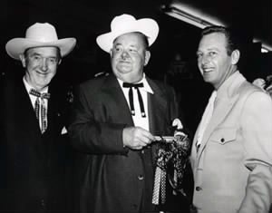 Stan Laurel and Oliver Hardy with Rand Brooks who was Hopalong Cassidy's sidekick in a series of B-Westerns. Rand was married to Stan's daughter Lois.