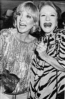 Beverly Garland and Amanda Blake enjoy a good laugh at the Golden Boot Awards reunion in 1966.