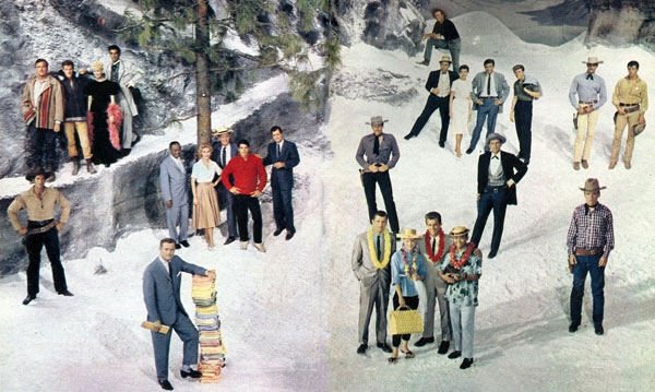 "Producer Bill Orr (foreground beside stack of scripts) with the stars of ten Warner Bros. TV series in 1960. (L-R) Clint Walker (""Cheyenne""), Jeff York, Dorothy Provine, Ray Danton (""The Alaskans""), Eddie Cole, Arlene Howell, Andrew Duggan, Van Williams, Richard Long (""Bourbon Street Beat""), Wayde Preston (""Colt .45""), Anthony Eisley, Connie Stevens, Robert Conrad, Poncie Ponce (""Hawaiian Eye""), Ty Hardin (""Bronco""), Louis Quin, Jacqueline Beer, Efrem Zimbalist Jr., Edd Byrnes (""77 Sunset Strip""), Jack Kelly (""Maverick""), John Russell, Peter Brown (""Lawman"") and Will Hutchins (""Sugarfoot"")."