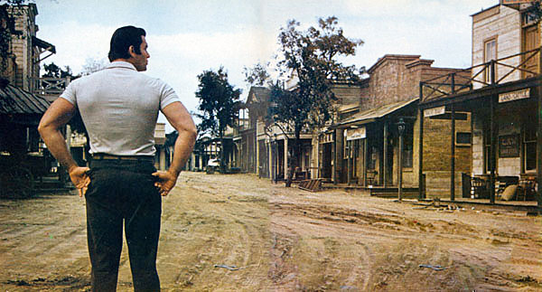 "Clint (""Cheyenne"") Walker returns to the Warner Bros. backlot in April '59 after his prolonged walkout."