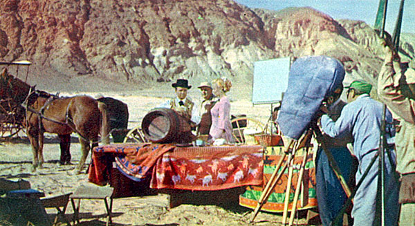 "Filming ""Merinda"", an episode of ""Death Valley Days"" (February '56) with Ann McCrea."