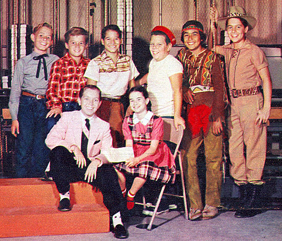 "TV's younger set in 1956. (L-R seated): Ronald Keith, 12 (Leroy on ""Great Gildersleeve""), Jeri Lou James, 10 (Josey on ""It's Always Jan""). (L-R standing): Barry Curtis, 12 (Ricky North on ""Champion""), Bobby Diamond, 11 (Joey on ""Fury""), Ricky Vera, 10 (Benny Romero on ""Our Miss Brooks""), Donald Keeler, 11 (Porky Brockway on ""Lassie""), Keena Nom Keena, 13 (Keena on ""Brave Eagle""), Martin Huston, 12 (Skipper on  ""Jungle Jim"")."