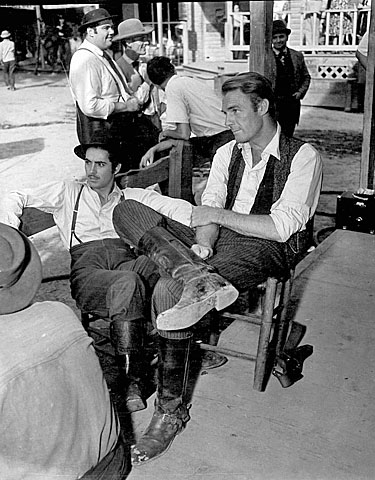 "Tyrone Power and Randolph Scott relaxing on the set of ""Jesse James"" ('39). (Thanx to Bobby Copeland.)"