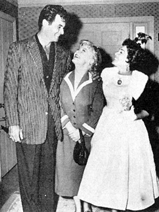 """The Texan"" Rory Calhoun and wife Lita Baron visit Spring Byington. Rory guested on Spring's  ""December Bride""."