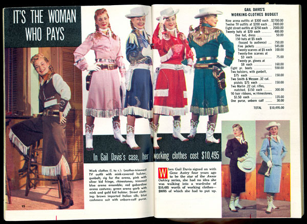 Great TV GUIDE spread of Gail Davis and her many Annie Oakley and civilian outfits.