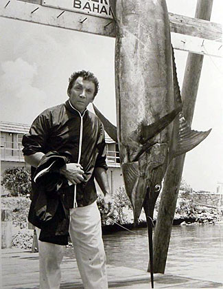 """The High Chaparral""'s; Uncle Buck (Cameron Mitchell) turned fisherman in the Bahamas and caught a big one. (Thanx to Marianne Ritner-Holmes.)"