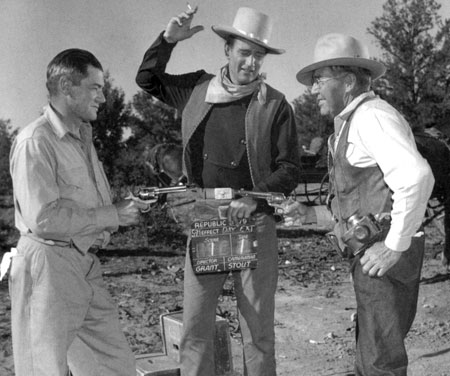 """Angel and the Badman"" gag shot on location with director James Edward Grant, John Wayne and cinematographer Archie Stout."