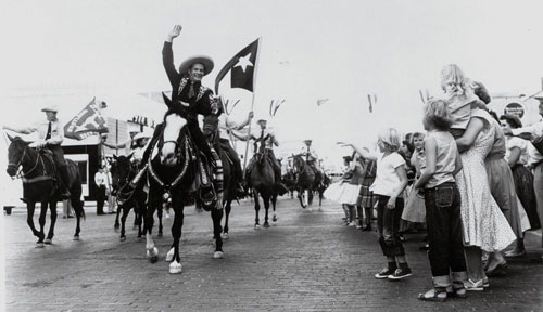 Duncan Renaldo as the Cisco Kid at a parade in the '50s in Cisco, TX which is on I-20 between Abilene and Fort Worth. The Texas Rangers accompanying Renaldo were out of Eastland County, TX. (Thanx to Billy Holcomb.)