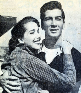 Husband and wife Julia Adams and Ray Danton in May 1958. Both were frequent TV Western guest stars.