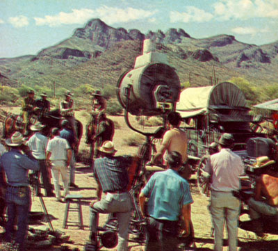 "The crew makes ready to film a ""High Chaparral"" scene in 1968 on the White Stallion Ranch near Tucson, AZ. Photo below shows the vastness of where they were filming."