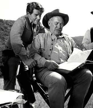 "Robert Horton and Ward Bond look over their next ""Wagon Train"" script. (Thanx to Terry Cutts.)"