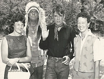 Two photos of Will Hutchins at a fund raiser to create a bronze statue of Frankie Laine with the help of the Little Italy Association in San Diego. Lady to the right in both photos is Mary-Jo ? Glenn Strange as an Indian is in the bottom photo. The other lady is unknown. (Thanx to Peter Williams.)