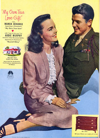 Wanda Hendrix and Audie Murphy in a advertisement for Lane Cedar Hope Chests in June, 1948.