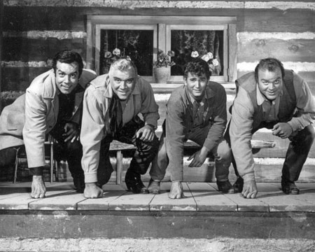 "The ""Bonanza"" Boys are ready for action! Pernell Roberts, Lorne Greene, Michael Landon, Dan Blocker."