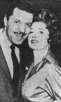 Famed striptease artist Tempest Storm greeted Herb Jeffries upon his arrival in L.A. (4/16/59) from Juarez, Mexico where Herb had just obtained a quickie divorce from his second wife. Jeffries and Storm were married later in 1959.