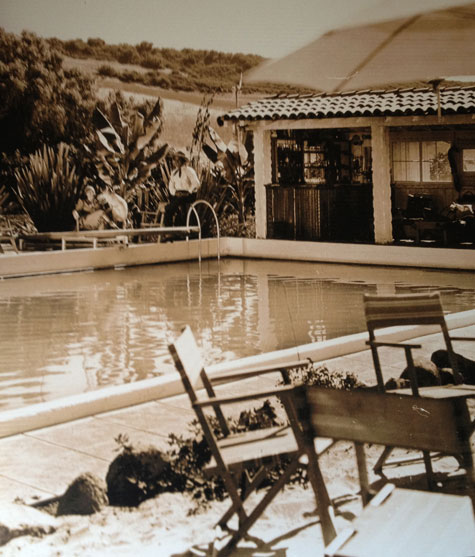 Leo Carrillo and his wife beside their pool at their ranch in its heyday. The Leo Carrillo Ranch Historic Park at 6200 Flying Leo Carrillo Lane in Carlsbad, CA is open to visitors these days.