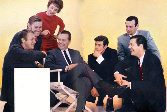 "Head of Four Star Films Dick Powell in April '59 with his 'stars' (L-R) Steve McQueen (""Wanted Dead or Alive""), Chuck Connors (""The Rifleman""), leading lady Beverly Garland, Peter Breck (""Black Saddle""), David Janssen (""Richard Diamond, Detective"") and Robert Culp (""Trackdown"")."