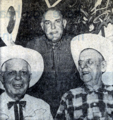 "On June 24, 1959 Ken Maynard (top) and Broncho Billy Anderson (right) visited Hoot Gibson while Hooter was making ""The Horse Soldiers"" with John Wayne."