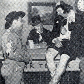 Tex Williams' KNBH TV sidekicks Smokey Rogers and Deuce Spriggens in a comedy skit with guest star Jack Holt (center).