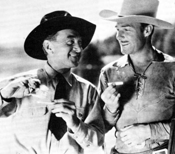 "Harry Carey and Randolph Scott roll their own while making ""Man of the Forest"" in 1933."