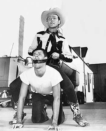 Roy Rogers trades in Trigger for Jerry Lewis for this comic publicity pose. (Thanx to Boyd Johnson.)(Thanx to Boyd Johnson.)