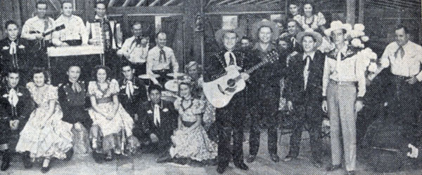 In the '50s Tex Williams and the Western Caravan were stars of a Tuesday night at 9pm KNBH-TV (now KNBC Hollywood) musical jamboree. Tex is front and center with his guitar, Smokey Rogers and Deuce Spriggens are to his left.
