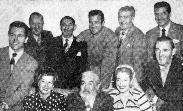 "In Oklahoma City for the premiere of ""El Paso"" (3/26/49) are (L-R back row) producer Bill Thomas, composer Harry Revel, John Payne, Frank Faylen, Eduardo Noriega. (L-R seated) singer David Street, singer Helen Forrest, Gabby Hayes, Mary Beth Hughes, actor Paul Hogan. (Hogan is Forrest's husband and has a bit as a heavy in ""El Paso"".)"