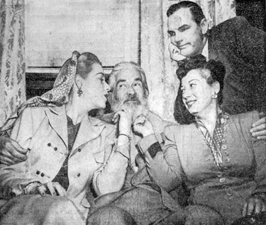 "Actor Paul Hogan seems to envy the attention Mary Beth Hughes and Hogan's wife singer Helen Forrest are giving Gabby Hayes. The group were in Oklahoma City (3/26/49) for the premiere of ""El Paso""."