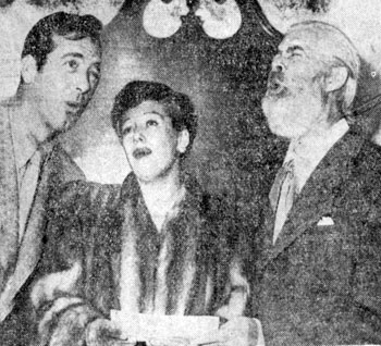 "John Payne and Helen Forrest harmonize while Gabby Hayes probably is flat during a personal appearance for the premiere of ""El Paso"" in Ft. Worth, TX on April 2, 1949."