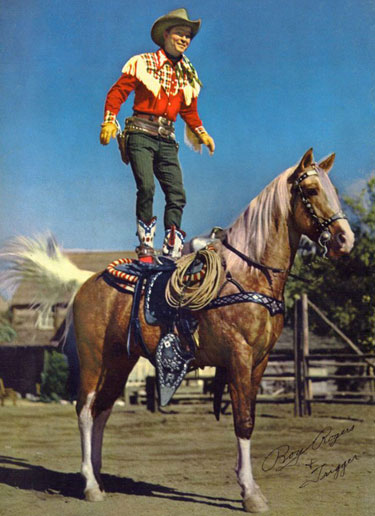 """Stand still Trigger!"" Perfect coordination between horse and rider. Roy Rogers and Trigger."