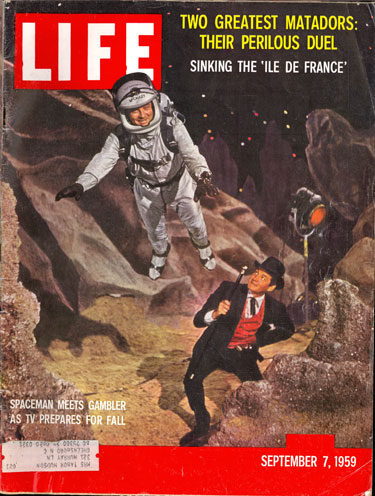 "William Lundigan of ""Men in Space"" meets Gene Barry of ""Bat Masterson"" for a promotional shot on the cover of the September 7, 1959 LIFE magazine."