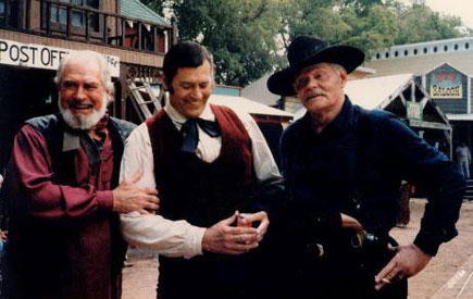 "ock Mahoney, Clint Walker and Leo Gordon on set to film ""The All American Cowboy"" in 1985. (Thanx to Judy Pastorius.)"