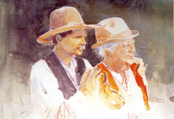 """Dad and Me"" is a self portrait by Western artist Buck Taylor of he and his  father Dub Taylor."