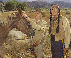 "Glenn Ford and Michael Ansara take a break from filming the TV movie ""Law at Randada"" aka ""Border Shootout"" in 1990."