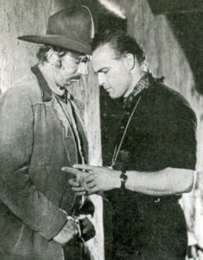 "Marlon Brando directs Slim Pickens for his ornery character role of Deputy Lon Dedrick in ""One-Eyed Jacks"" (1961)."