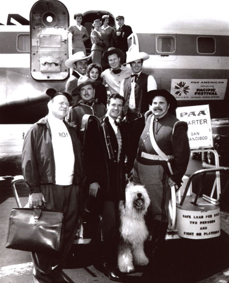 "Jock (""Yancy Derringer"") Mahoney, ??, John (""Laramie"") Smith, Tom (""Texas John Slaughter"") Tryon, Richard (""Sgt. Preston"") Simmons, Roy (of the ""Mickey Mouse Club"") Williams, Hugh (""Wyatt Earp"") O'Brian and Henry (Sgt. Garcia on ""Zorro"") Calvin ready to board a charter for San Francisco on a promotional tour for Disney's ""Shaggy Dog"" ('59). (Thanx to Terry Cutts.)"