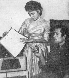 Clint Walker's wife Lucille helps Cheyenne with his latest script.