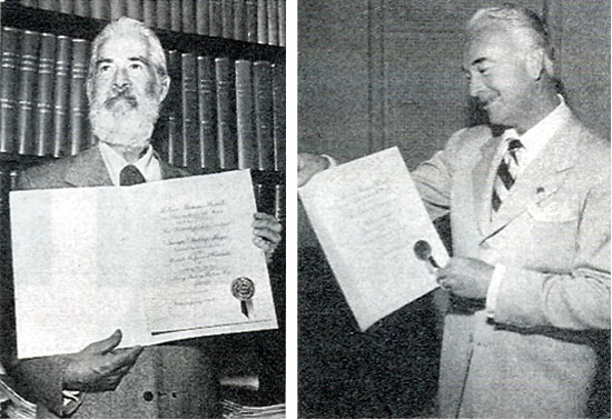 "The motion picture exhibitors of America for the MOTION PICTURE HERALD tradepaper's annual poll of ""The Ten Best Moneymakers"" in the western field. Pictured here are Gabby Hayes and William Boyd."