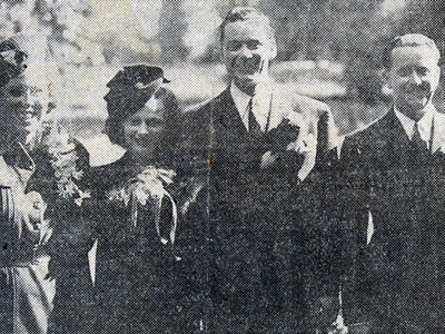 Actress Jan(e) Clayton (of Tularosa, NM) and her new husband Russell Hayden who was then working on the Hopalong Cassidy series as Lucky. The couple was married in October 9, 1938 in Tularosa. (L-R) Miss Leota Bradford, bridesmaid; Jan Clayton, Russell Hayden and Hayden's brother, F. J., of North Hollywood, CA. The Haydens Honeymooned in San Francisco.