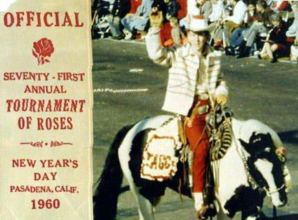 "Jimmy Hawkins, Tagg Oakley on TV's ""Annie Oakley"", rides Pixie in the Tournament of Roses Parade."