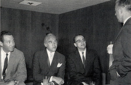 "(L-R) NBC programming executive Alan Livingston, Lorne Greene, ""Bonanza"" creator David Dortort speak with another NBC programming executive Jerry Stanley in 1959, the year ""Bonanza"" debuted on NBC. Livingston's brother, Jay Livingston, and Ray Evans wrote the ""Bonanza"" themesong. Incidentally, it was Livingston who later, at Capitol Records, ignoring reccomendations, decided to release the Beatles' records in the U. S. (Photo from BONANZA GOLD, Vol. VII, #4.)"