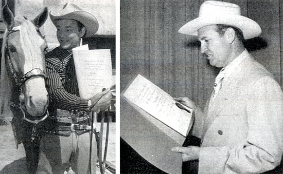 """Look Trigger, we're #1,"" Roy Rogers seems to be telling his golden palomino. Roy was voted #1 by the motion picture exhibitors of America for the MOTION PICTURE HERALD tradepaper's annual poll of ""The Ten Best Moneymakers"" in the western field. Other winner pictured is Gene Autry."