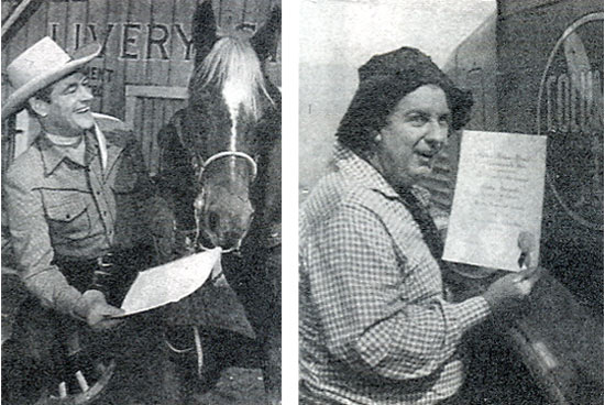 "The motion picture exhibitors of America for the MOTION PICTURE HERALD tradepaper's annual poll of ""The Ten Best Moneymakers"" in the western field. Picture shows Charles Starrett and  Smiley Burnette."